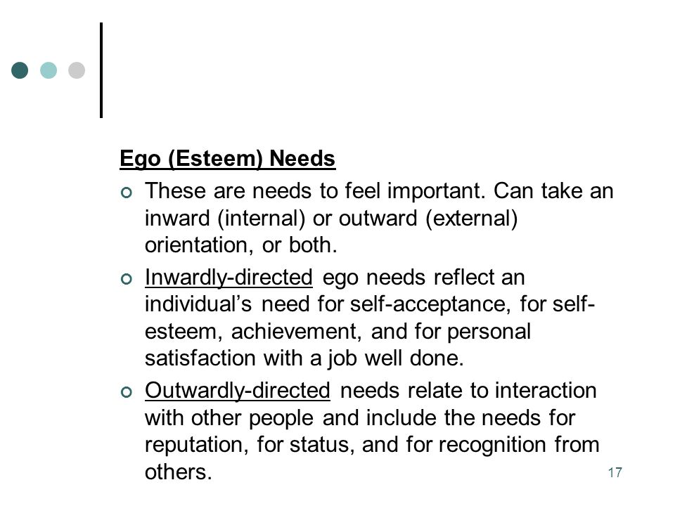Ego (Esteem) Needs These are needs to feel important.