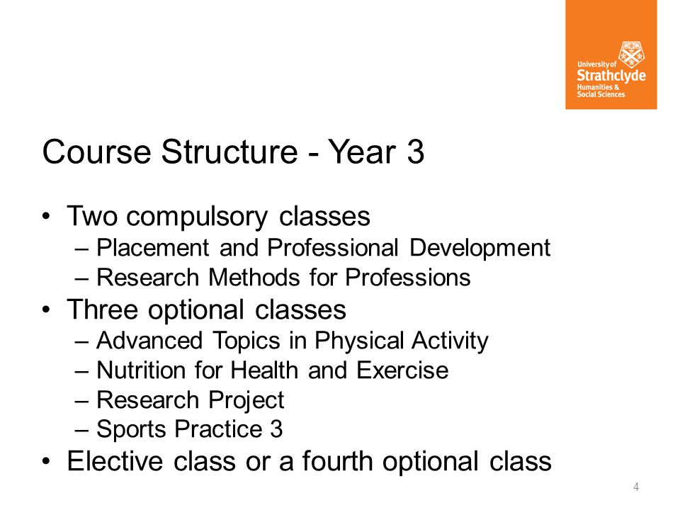Two compulsory classes –Placement and Professional Development –Research Methods for Professions Three optional classes –Advanced Topics in Physical Activity –Nutrition for Health and Exercise –Research Project –Sports Practice 3 Elective class or a fourth optional class Course Structure - Year 3 4
