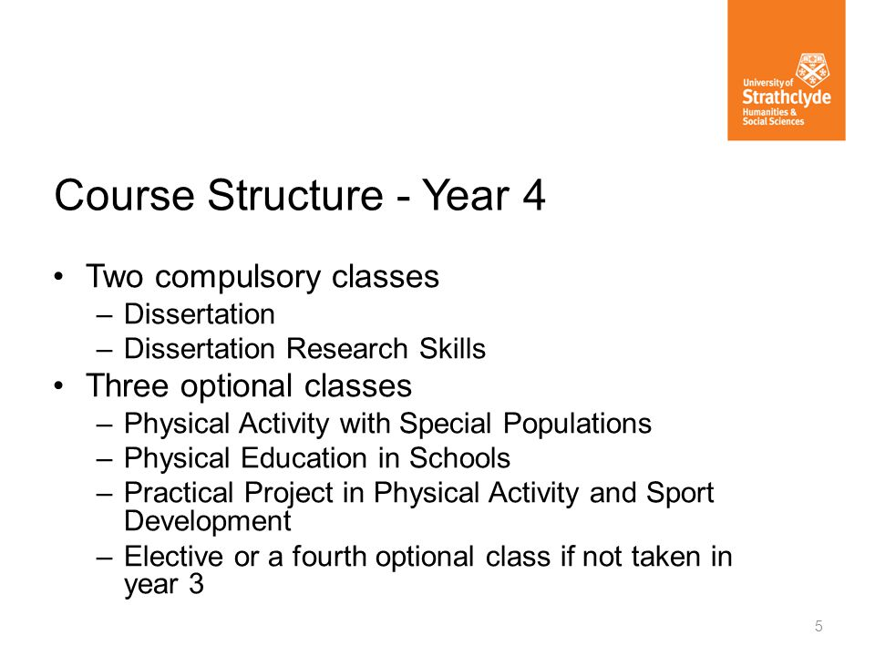 Two compulsory classes –Dissertation –Dissertation Research Skills Three optional classes –Physical Activity with Special Populations –Physical Education in Schools –Practical Project in Physical Activity and Sport Development –Elective or a fourth optional class if not taken in year 3 5 Course Structure - Year 4