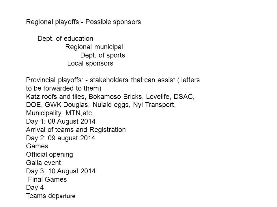 Regional playoffs:- Possible sponsors Dept. of education Regional municipal Dept.