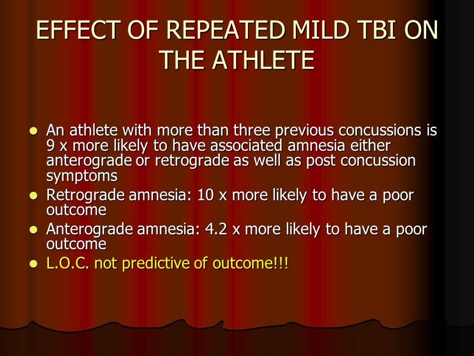EFFECT OF REPEATED MILD TBI ON THE ATHLETE An athlete with more than three previous concussions is 9 x more likely to have associated amnesia either anterograde or retrograde as well as post concussion symptoms An athlete with more than three previous concussions is 9 x more likely to have associated amnesia either anterograde or retrograde as well as post concussion symptoms Retrograde amnesia: 10 x more likely to have a poor outcome Retrograde amnesia: 10 x more likely to have a poor outcome Anterograde amnesia: 4.2 x more likely to have a poor outcome Anterograde amnesia: 4.2 x more likely to have a poor outcome L.O.C.
