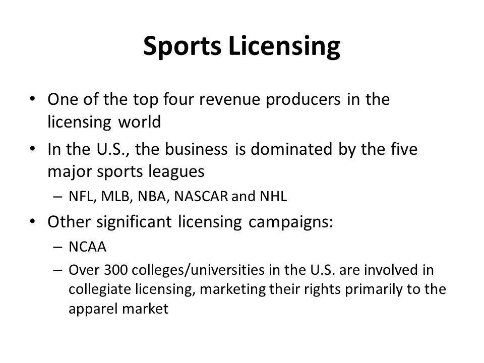 Sports Licensing One of the top four revenue producers in the licensing world In the U.S., the business is dominated by the five major sports leagues