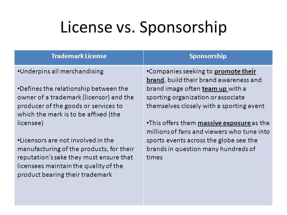 License vs. Sponsorship Trademark LicenseSponsorship Underpins all merchandising Defines the relationship between the owner of a trademark (licensor)