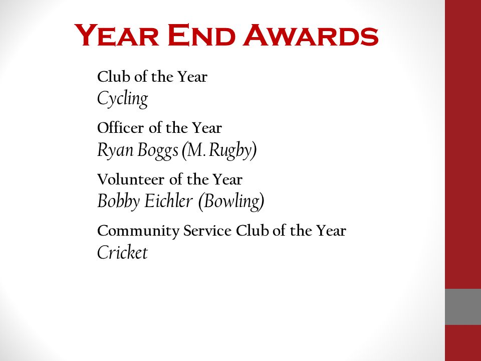 Year End Awards Club of the Year Cycling Officer of the Year Ryan Boggs (M. Rugby) Volunteer of the Year Bobby Eichler (Bowling) Community Service Clu