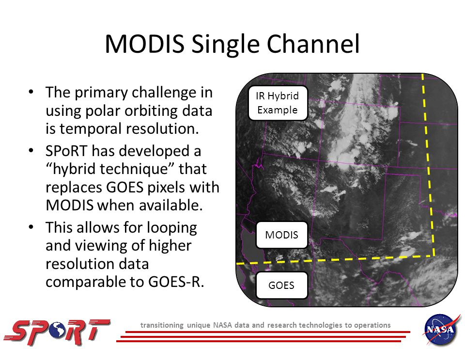 MODIS Single Channel The primary challenge in using polar orbiting data is temporal resolution.