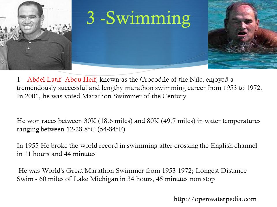 1 – Abdel Latif Abou Heif, known as the Crocodile of the Nile, enjoyed a tremendously successful and lengthy marathon swimming career from 1953 to 1972.