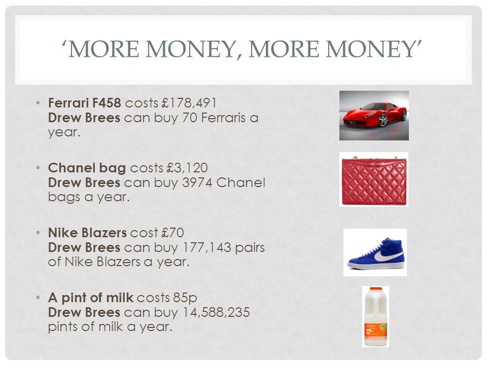 MORE MONEY, MORE MONEY Ferrari F458 costs £178,491 Drew Brees can buy 70 Ferraris a year.