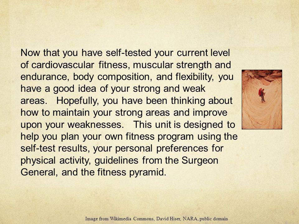 Now that you have self-tested your current level of cardiovascular fitness, muscular strength and endurance, body composition, and flexibility, you ha