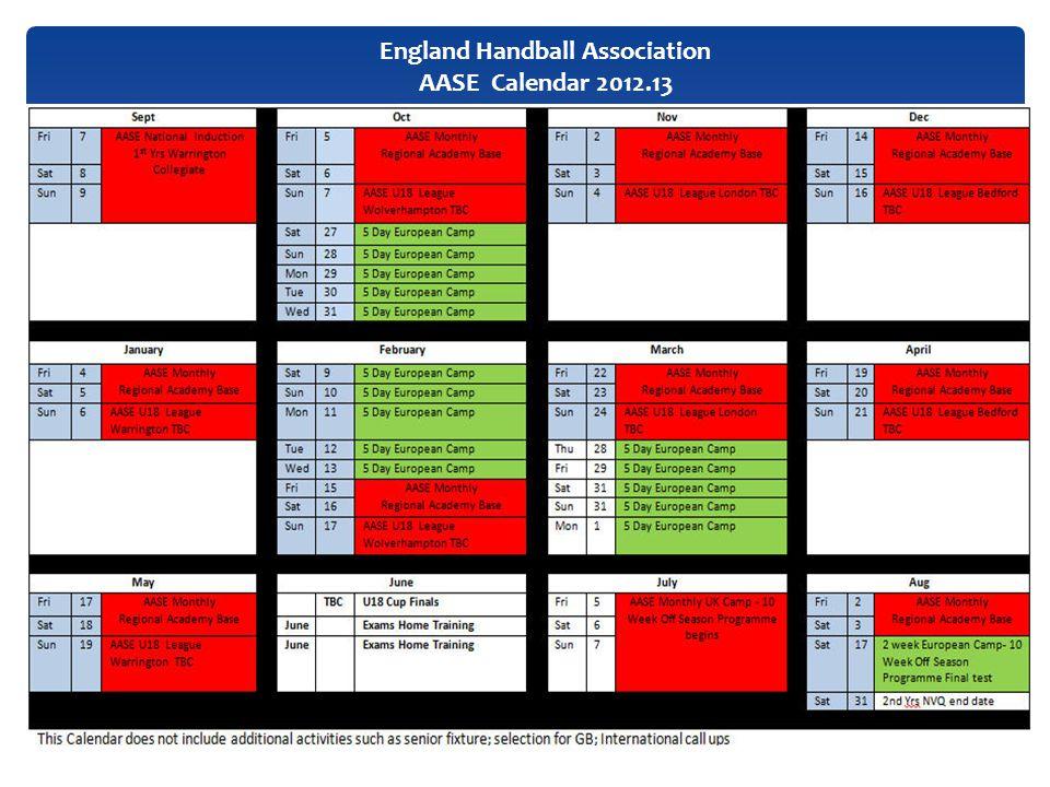 England Handball Association AASE Calendar 2012.13