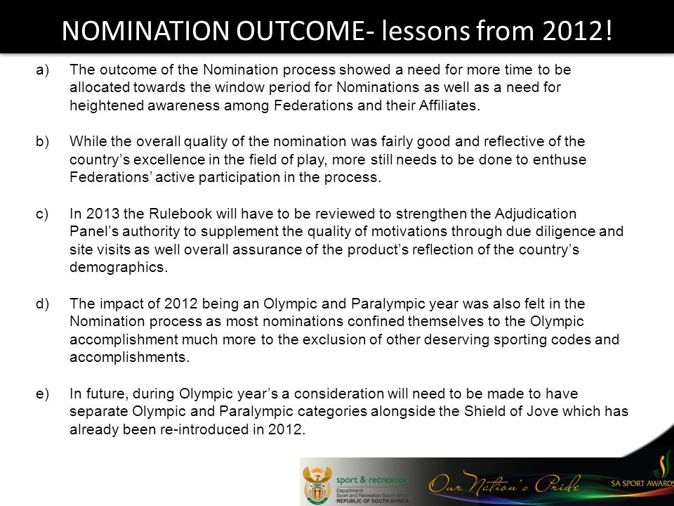 NOMINATION OUTCOME- lessons from 2012.
