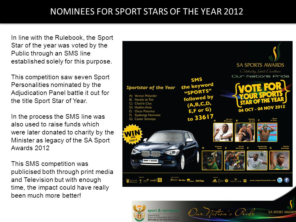 NOMINEES FOR SPORT STARS OF THE YEAR 2012 In line with the Rulebook, the Sport Star of the year was voted by the Public through an SMS line established solely for this purpose.