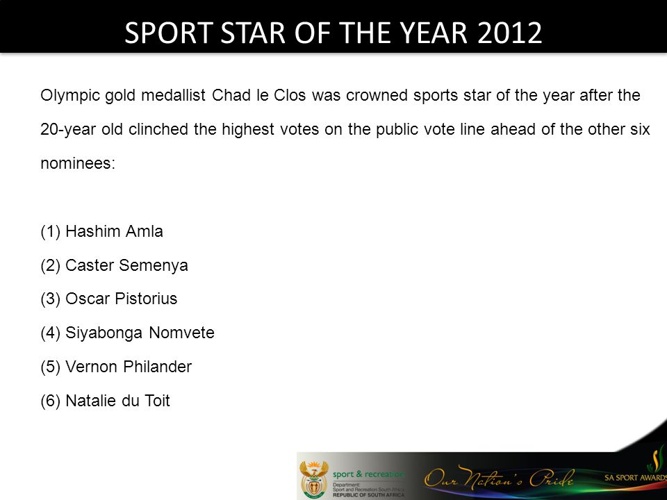 SPORT STAR OF THE YEAR 2012 Olympic gold medallist Chad le Clos was crowned sports star of the year after the 20-year old clinched the highest votes o