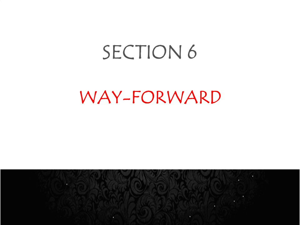 SECTION 6 WAY-FORWARD