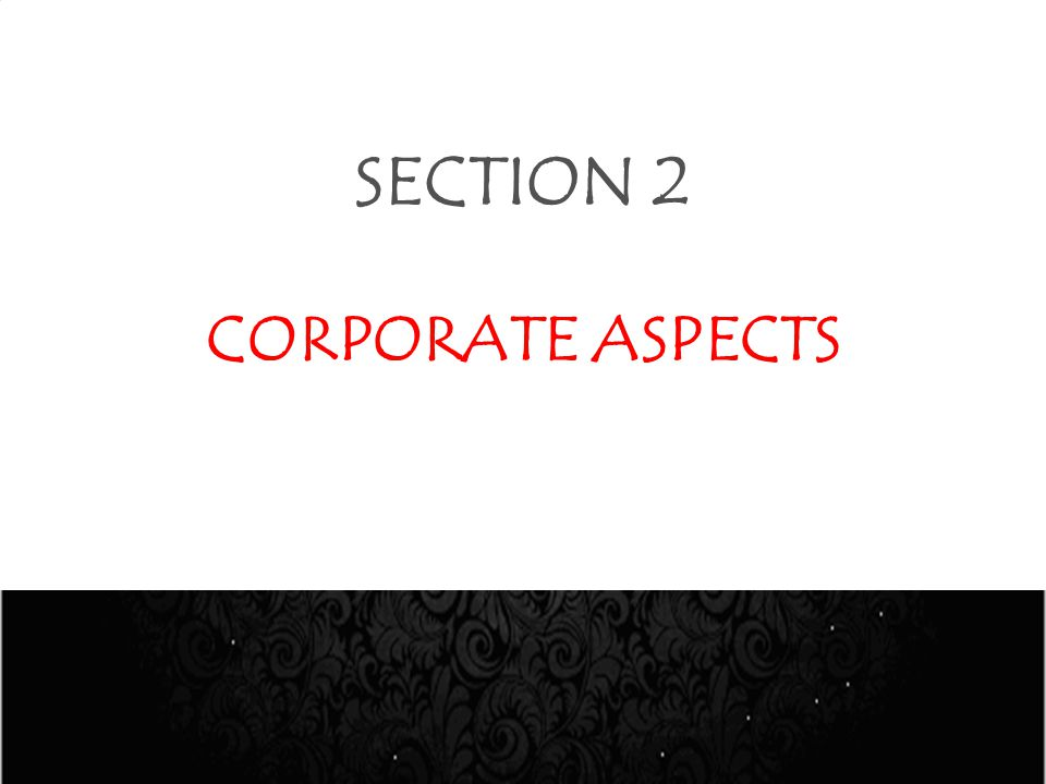 SECTION 2 CORPORATE ASPECTS