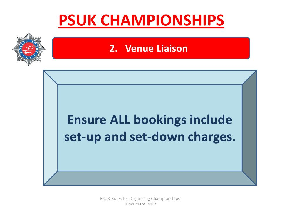 PSUK Rules for Organising Championships - Document 2013 PSUK CHAMPIONSHIPS 2.