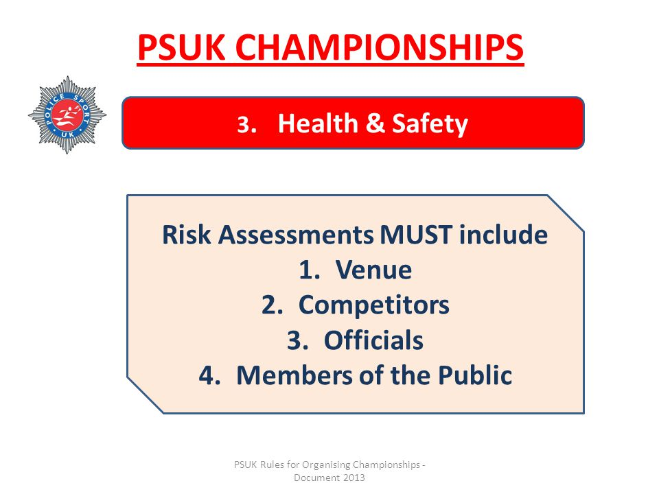 PSUK Rules for Organising Championships - Document 2013 PSUK CHAMPIONSHIPS 3.