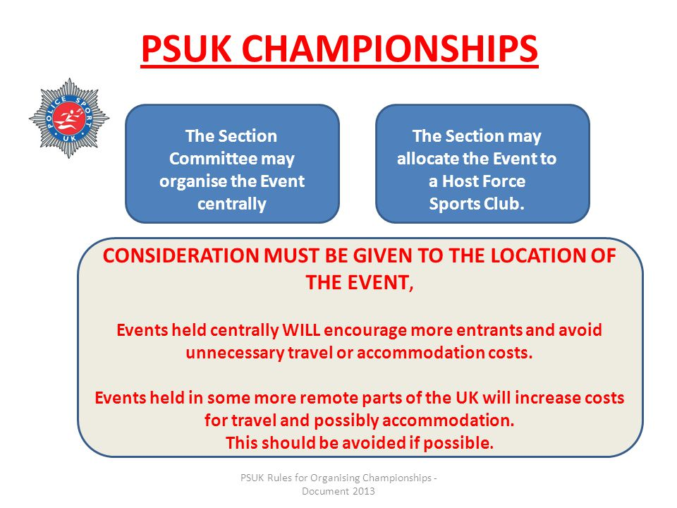 PSUK Rules for Organising Championships - Document 2013 PSUK CHAMPIONSHIPS The Section Committee may organise the Event centrally The Section may allocate the Event to a Host Force Sports Club.