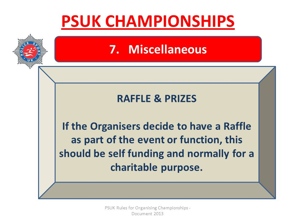 PSUK Rules for Organising Championships - Document 2013 PSUK CHAMPIONSHIPS 7.
