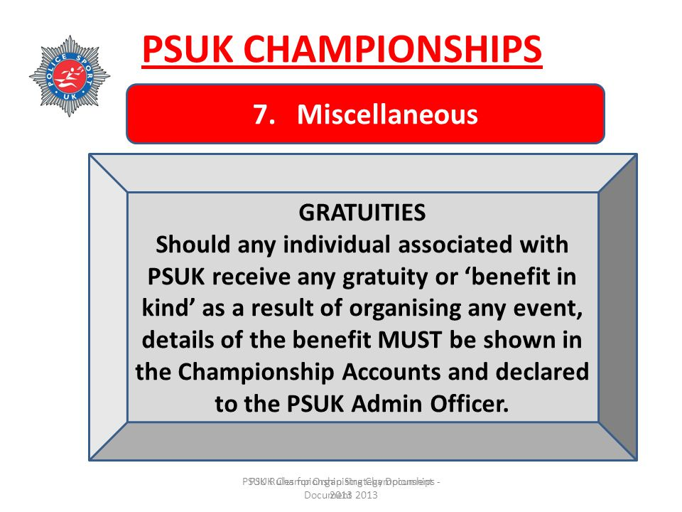 PSUK Rules for Organising Championships - Document 2013 PSUK Championship Strategy Document 2013 PSUK CHAMPIONSHIPS 7.