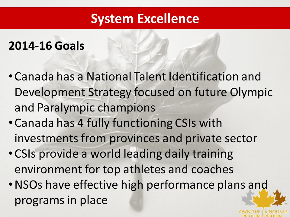 2014-16 Goals Canada has a National Talent Identification and Development Strategy focused on future Olympic and Paralympic champions Canada has 4 fully functioning CSIs with investments from provinces and private sector CSIs provide a world leading daily training environment for top athletes and coaches NSOs have effective high performance plans and programs in place System Excellence