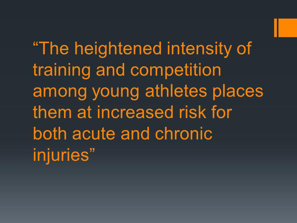 INJURY PREVENTION Always use proper body mechanics in sports involving repetitive stress Listen to your body.