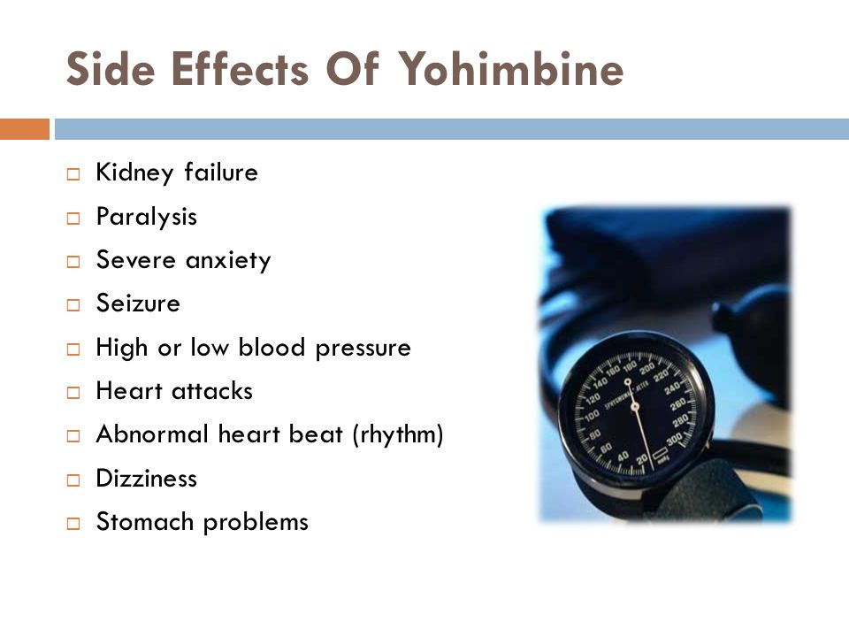 Side Effects Of Yohimbine Kidney failure Paralysis Severe anxiety Seizure High or low blood pressure Heart attacks Abnormal heart beat (rhythm) Dizziness Stomach problems