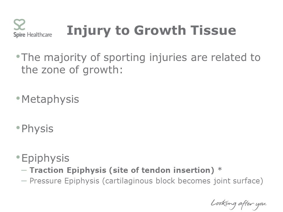 Injury to Growth Tissue The majority of sporting injuries are related to the zone of growth: Metaphysis Physis Epiphysis – Traction Epiphysis (site of