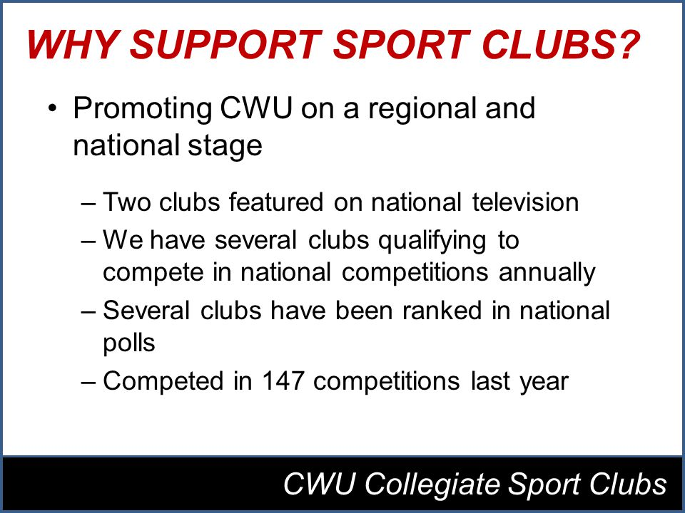 WHY SUPPORT SPORT CLUBS.