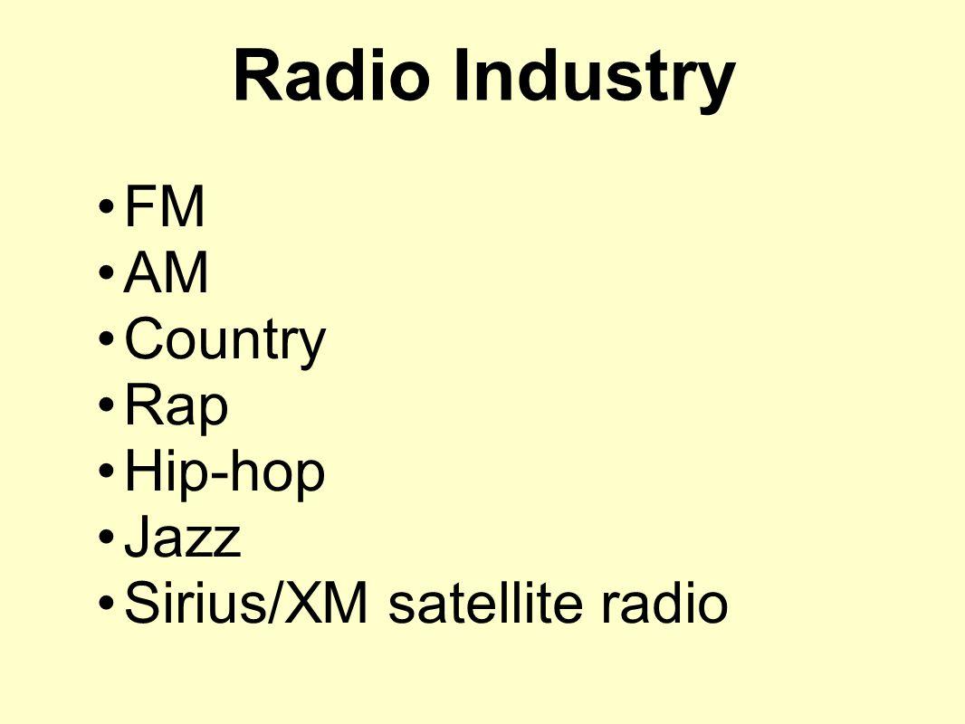 Radio Industry FM AM Country Rap Hip-hop Jazz Sirius/XM satellite radio