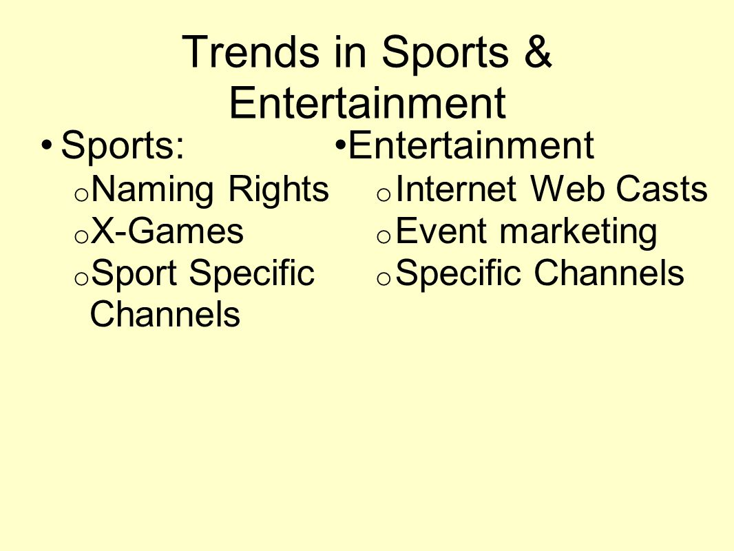 Trends in Sports & Entertainment Sports: o Naming Rights o X-Games o Sport Specific Channels Entertainment o Internet Web Casts o Event marketing o Specific Channels