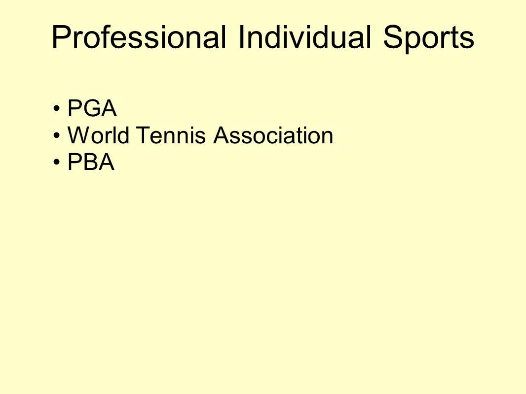Professional Individual Sports PGA World Tennis Association PBA