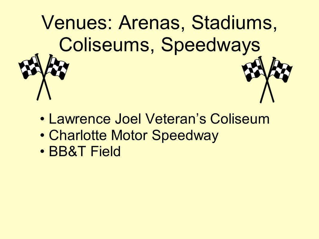 Venues: Arenas, Stadiums, Coliseums, Speedways Lawrence Joel Veterans Coliseum Charlotte Motor Speedway BB&T Field