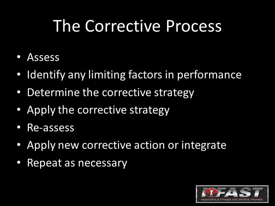 The Corrective Process Assess Identify any limiting factors in performance Determine the corrective strategy Apply the corrective strategy Re-assess A