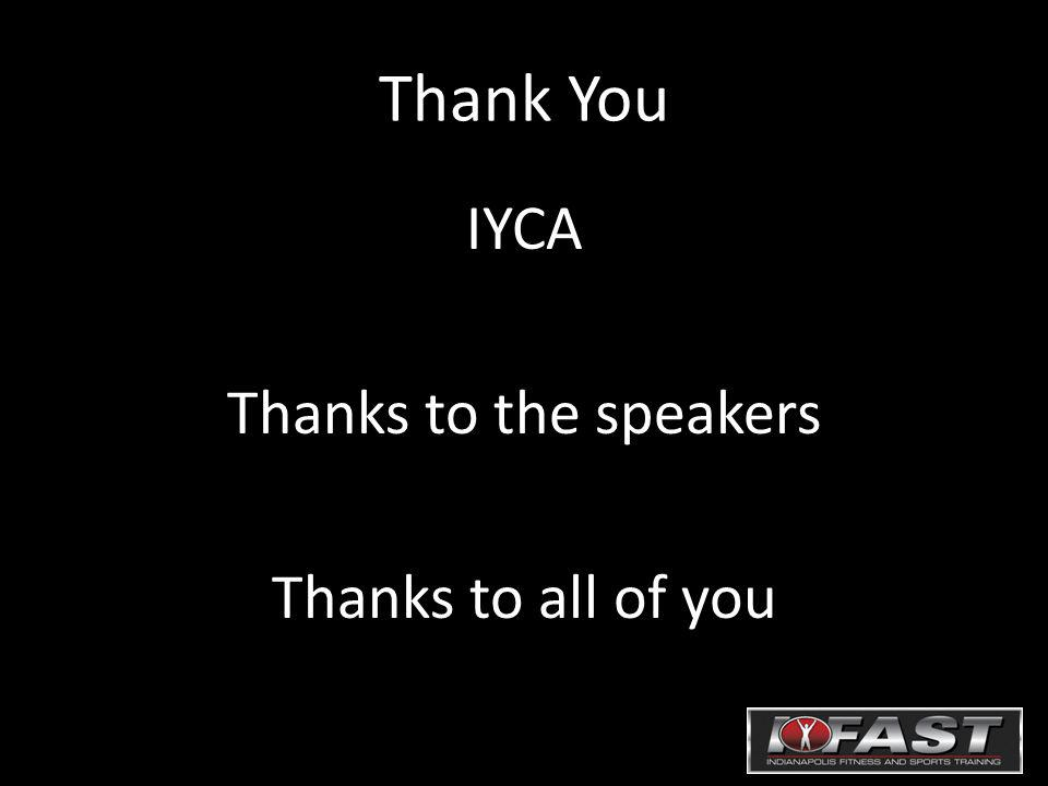Thank You IYCA Thanks to the speakers Thanks to all of you