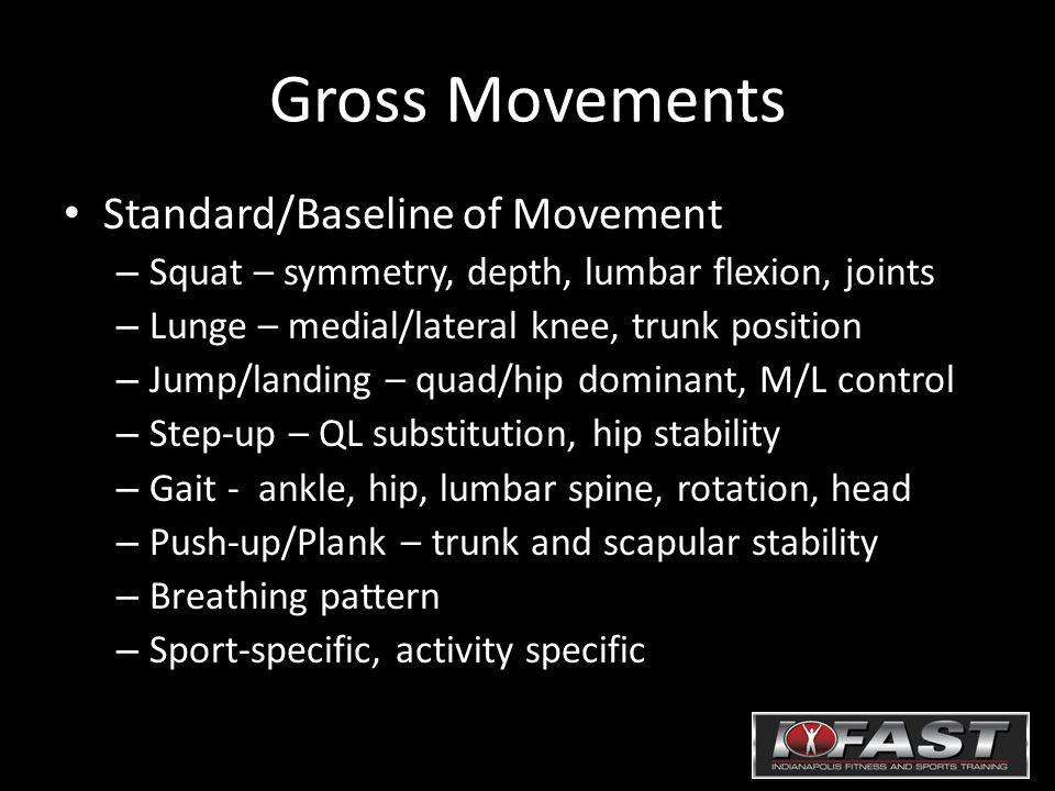 Gross Movements Standard/Baseline of Movement – Squat – symmetry, depth, lumbar flexion, joints – Lunge – medial/lateral knee, trunk position – Jump/landing – quad/hip dominant, M/L control – Step-up – QL substitution, hip stability – Gait - ankle, hip, lumbar spine, rotation, head – Push-up/Plank – trunk and scapular stability – Breathing pattern – Sport-specific, activity specific