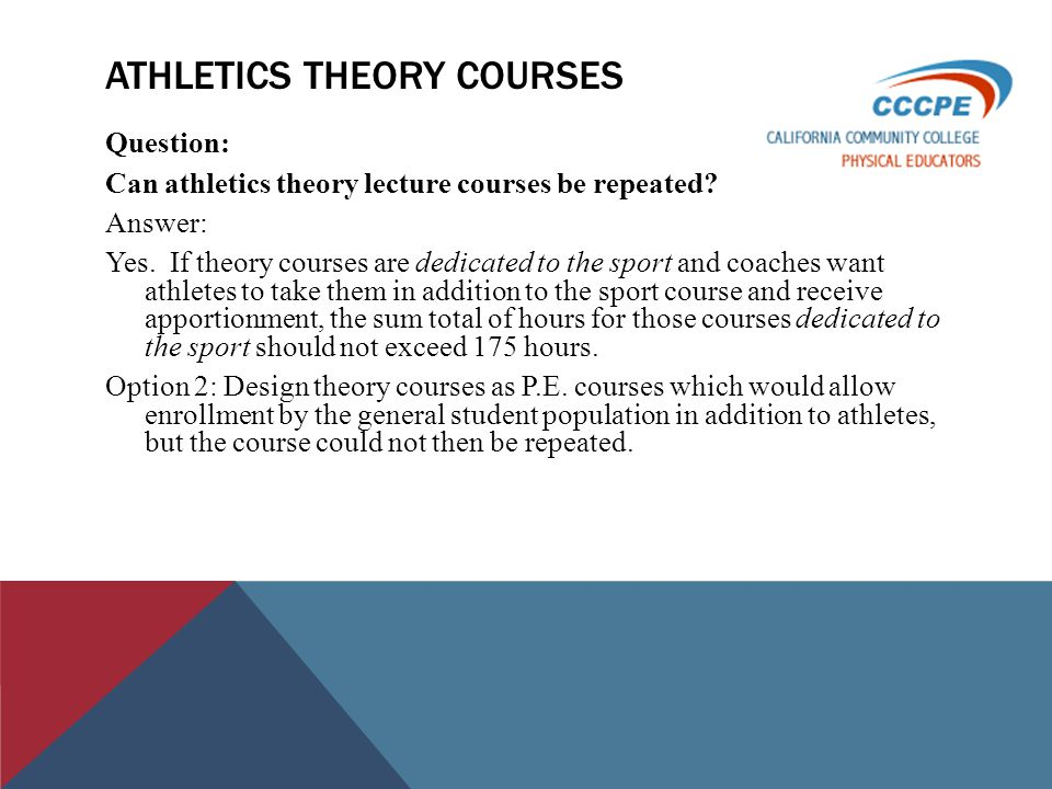 ATHLETICS THEORY COURSES Question: Can athletics theory lecture courses be repeated.