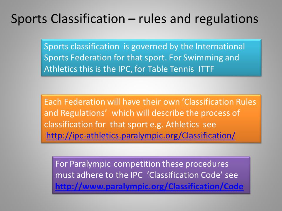 Sports Classification – rules and regulations Each Federation will have their own Classification Rules and Regulations which will describe the process