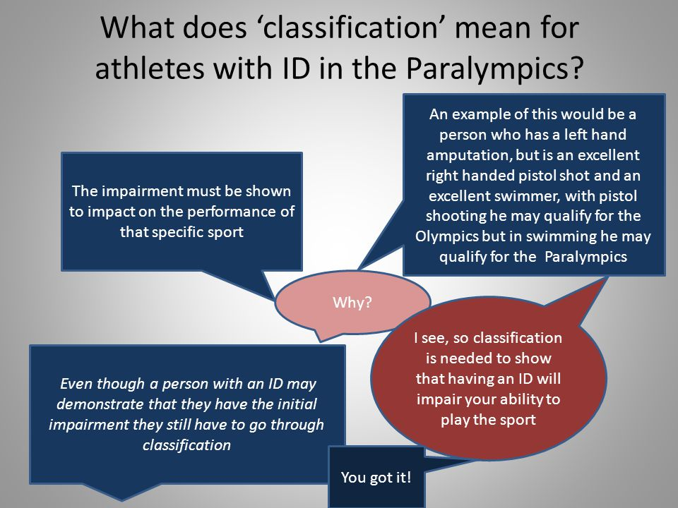 What does classification mean for athletes with ID in the Paralympics.