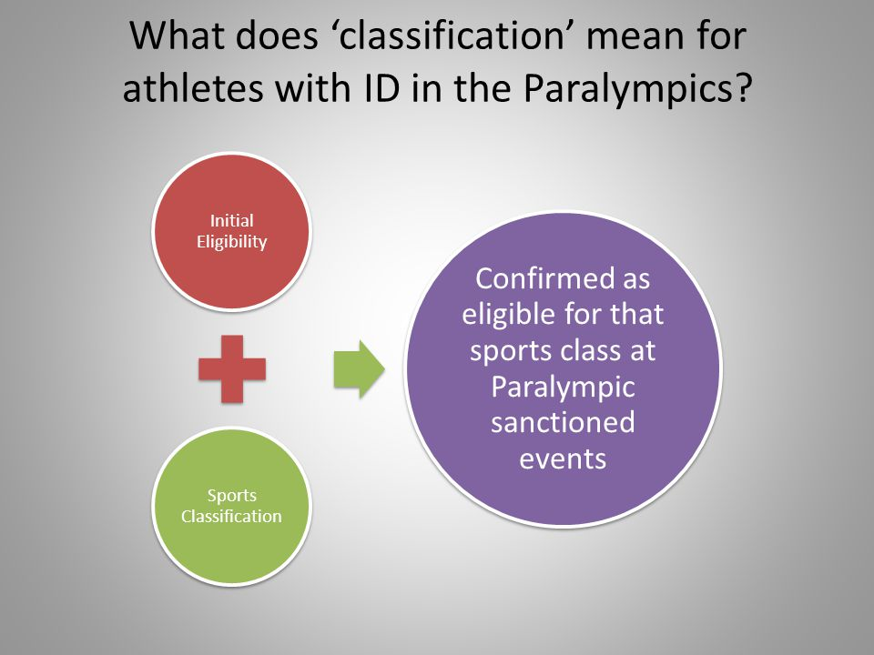 Sports Classification – rules and regulations Each Federation will have their own Classification Rules and Regulations which will describe the process of classification for that sport e.g.