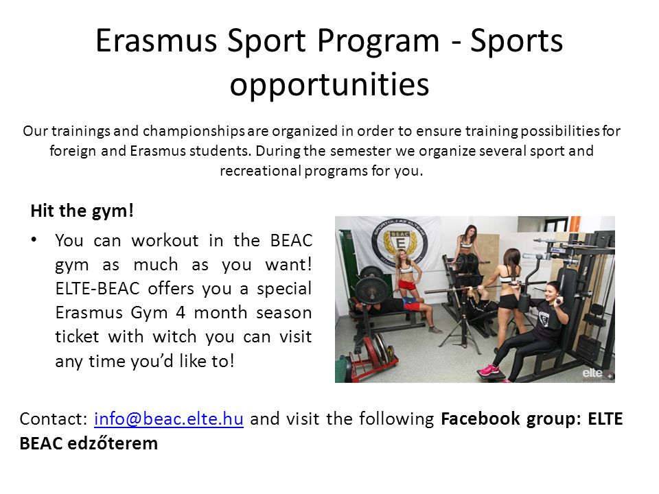 Erasmus Sport Program - Sports opportunities Ride with us.