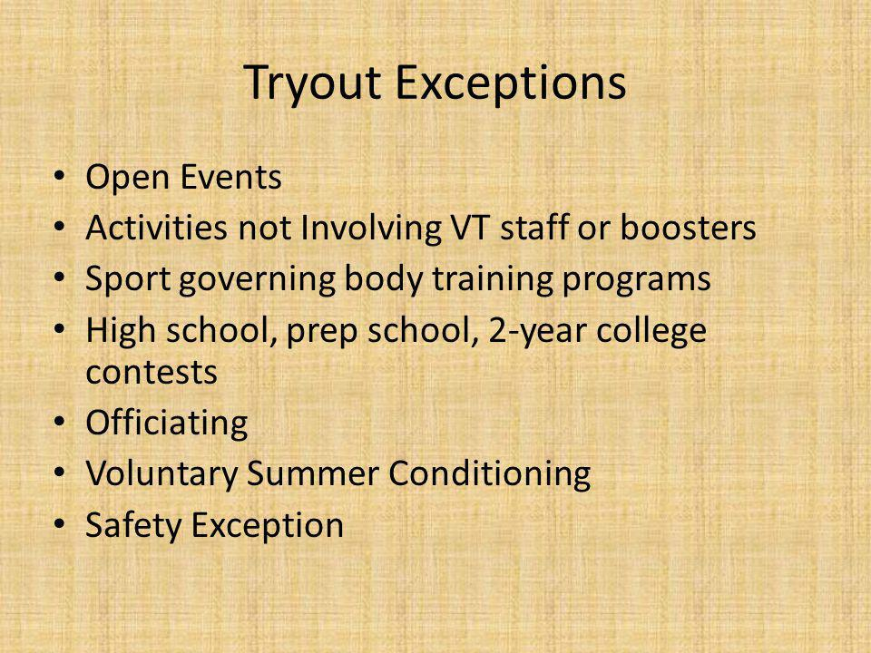Tryout Exceptions Open Events Activities not Involving VT staff or boosters Sport governing body training programs High school, prep school, 2-year college contests Officiating Voluntary Summer Conditioning Safety Exception