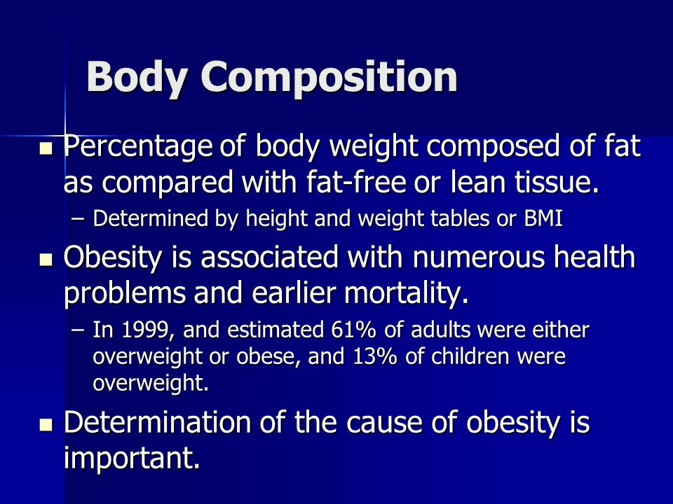 Body Composition Percentage of body weight composed of fat as compared with fat-free or lean tissue. Percentage of body weight composed of fat as comp