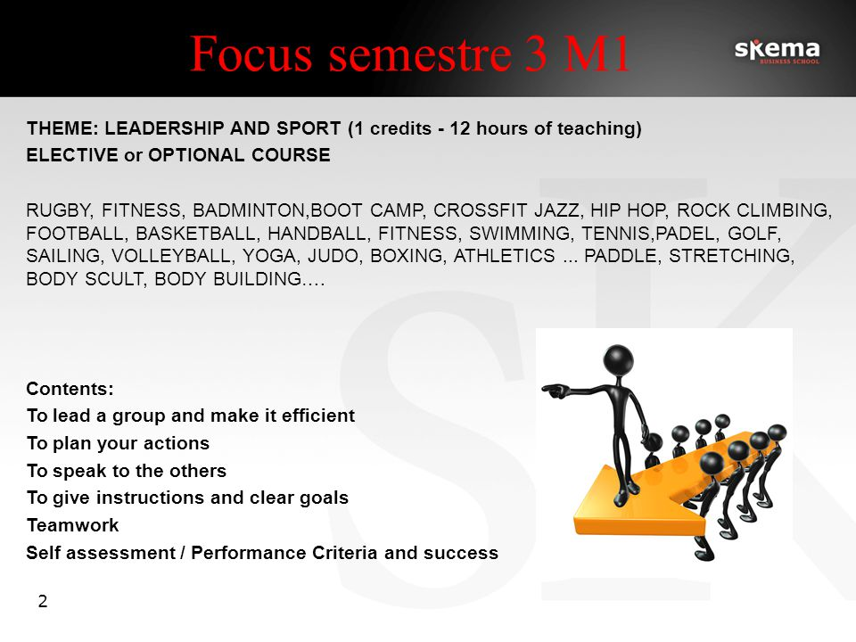 Focus semestre 3 M1 2 THEME: LEADERSHIP AND SPORT (1 credits - 12 hours of teaching) ELECTIVE or OPTIONAL COURSE RUGBY, FITNESS, BADMINTON,BOOT CAMP, CROSSFIT JAZZ, HIP HOP, ROCK CLIMBING, FOOTBALL, BASKETBALL, HANDBALL, FITNESS, SWIMMING, TENNIS,PADEL, GOLF, SAILING, VOLLEYBALL, YOGA, JUDO, BOXING, ATHLETICS...