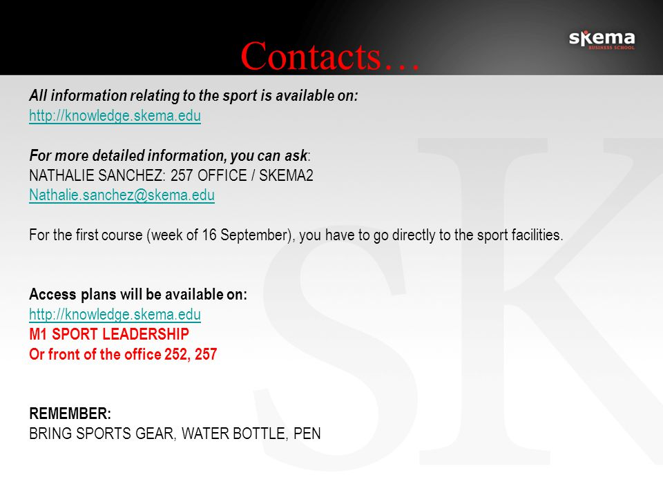 All the members of the Sport Office wish you an excellent start in this new academic year!
