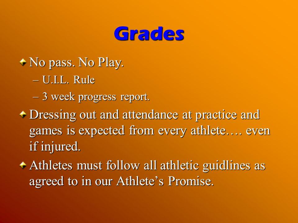 Grades No pass.No Play. –U.I.L. Rule –3 week progress report.
