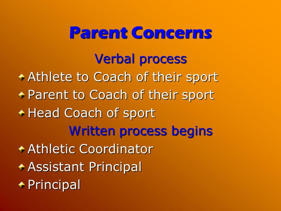 Parent Concerns Verbal process Athlete to Coach of their sport Parent to Coach of their sport Head Coach of sport Written process begins Athletic Coor