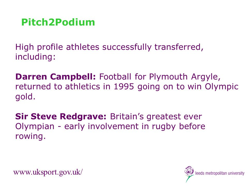 Pitch2Podium High profile athletes successfully transferred, including: Darren Campbell: Football for Plymouth Argyle, returned to athletics in 1995 g