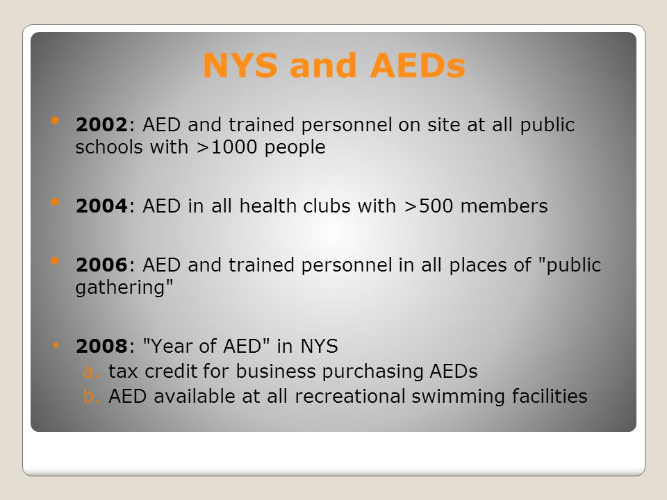 NYS and AEDs 2002: AED and trained personnel on site at all public schools with >1000 people 2004: AED in all health clubs with >500 members 2006: AED