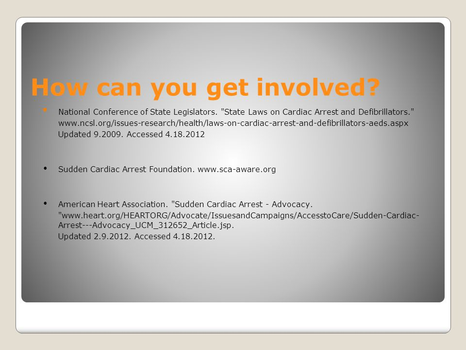 How can you get involved? National Conference of State Legislators.