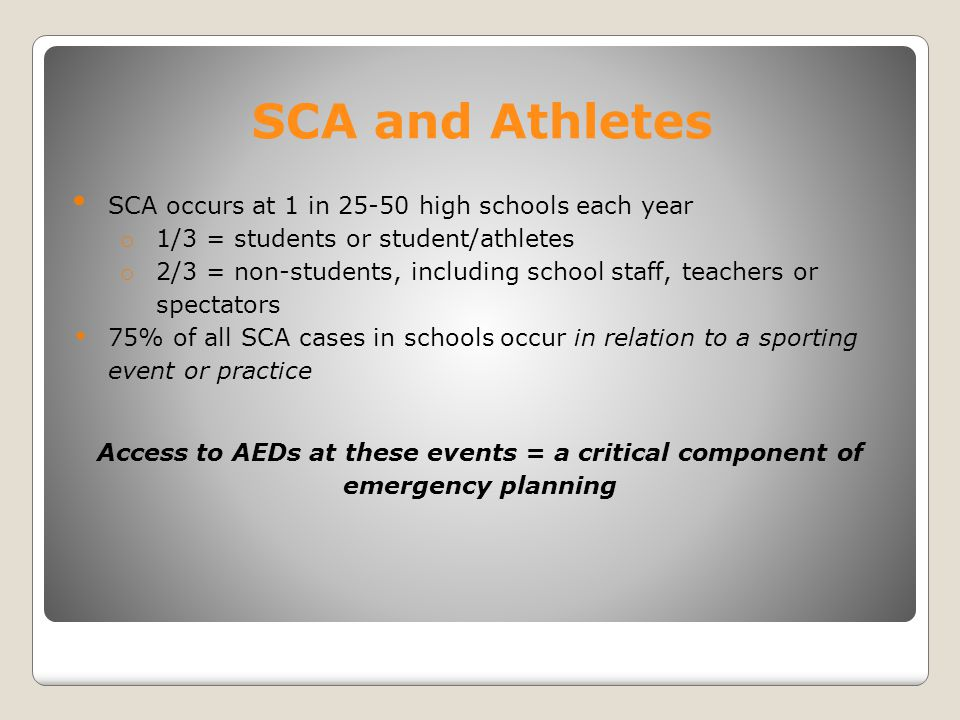 Causes of SCA in athletes: AAP Policy on Pediatric Sudden Cardiac Arrest, 2012